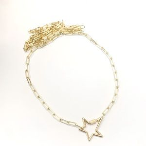 18k gold filled paperclip chain with star clasp